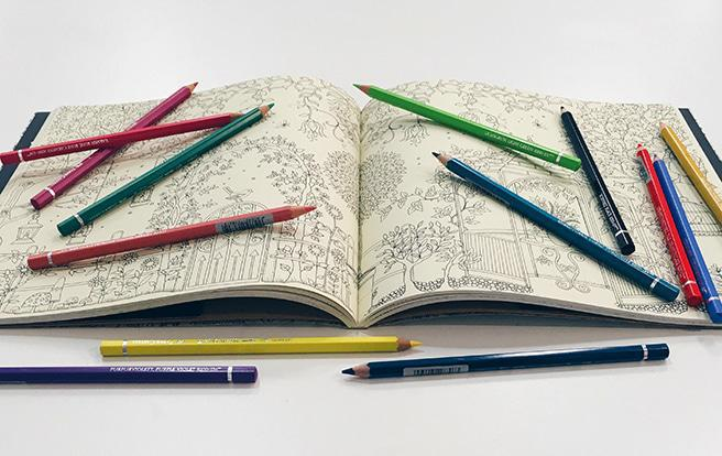 Colouring tools for adult colouring books: coloured pencils