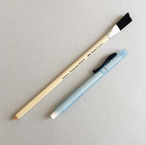Pencil and click erasers