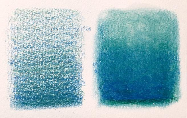 On the left - unblended pencil crayon on rough paper. On the Right - Pencil blended using Zest-it Pencil Blender.