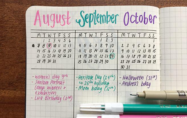 bujo calendar