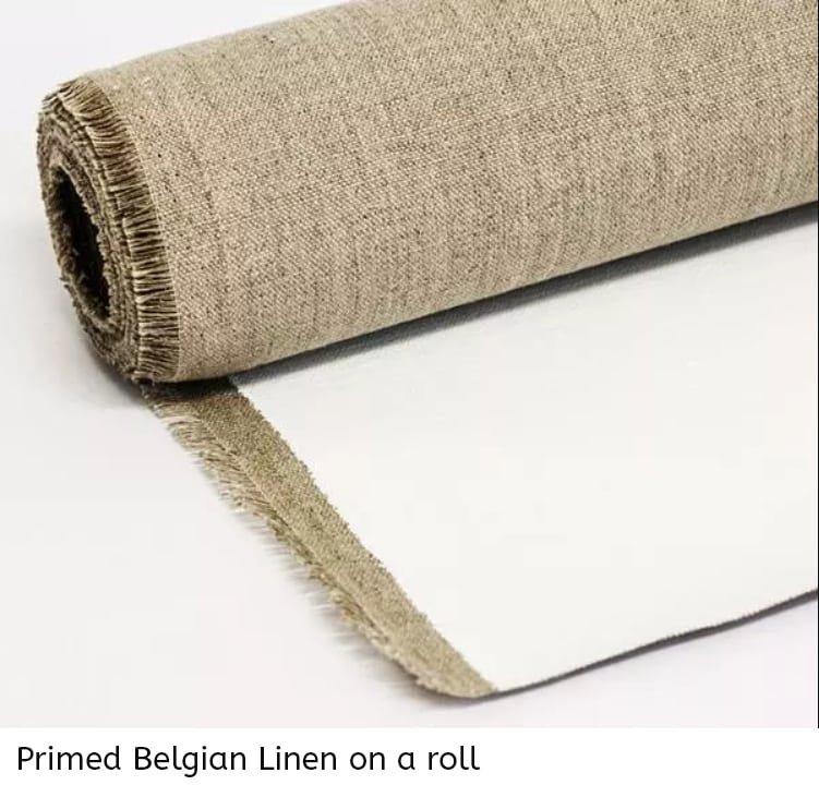 Belgian linen primed on a roll