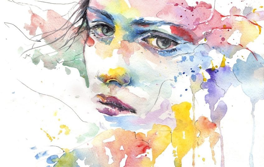 watercolour painting abstract face
