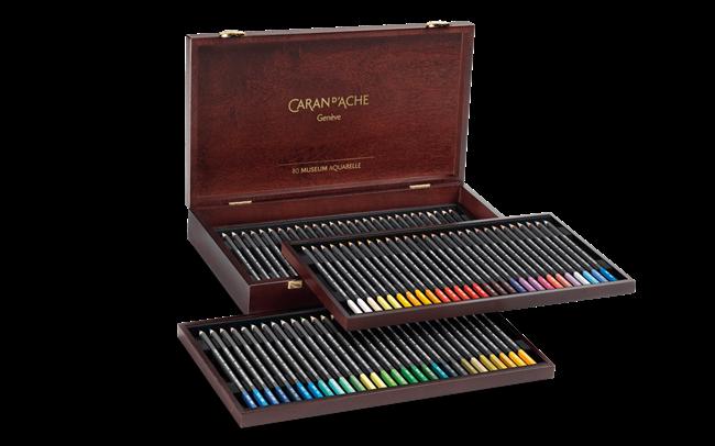 Caran D'Ache Artist Museum Aquarelle Wooden Box Set of 84 Pencils