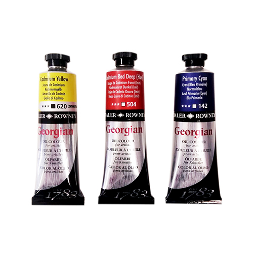 tubes oil paint in red yellow blue georgian by daler rowney