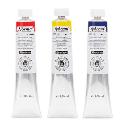 three metal tubes norma oil paint 200ml